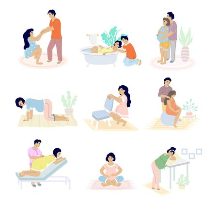 Birth positions set, vector flat isolated illustration. Pregnant woman in labour supported by husband. Moms giving birth sitting, standing, kneeling, in water, using birthing ball, stool positions.