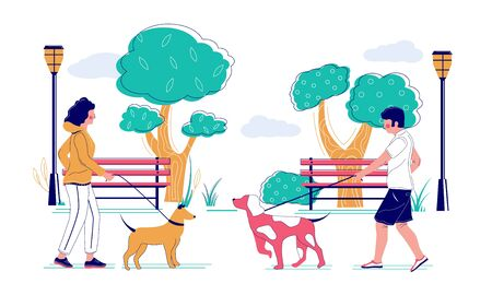 People walking their pet dogs in the park, vector flat illustration. Pet owners male and female characters taking their puppies for morning walk. Dog walking, caring for animals concept. Ilustración de vector