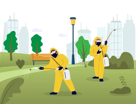 Professional pest control and disinfection service, vector flat illustration. People in chemical suits spraying city park area to exterminate rats, mice, other pests and reduce risk of disease spread.