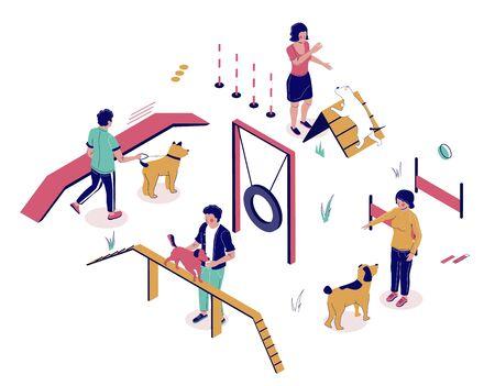 Les dresseurs de chiens enseignent aux chiens de compagnie à jouer et à faire des tours sur le terrain de jeu, illustration vectorielle à plat. Personnages masculins et féminins isométriques, équipement pour l'entraînement des animaux. Cours de dressage d'obéissance canine.