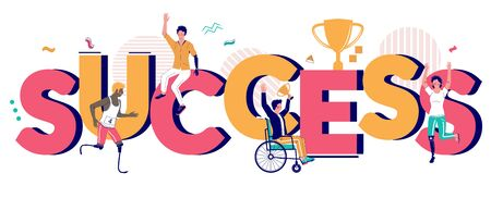 Success typography banner template vector flat illustration. Happy disabled people using wheelchair, runner blades, arm and leg prosthesis overcoming difficulties, achieving success in sport, business