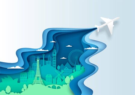 Air travel, vector aerial view layered paper cut style illustration. Airplane flying over world famous landmark silhouettes. International tourism, travel by air, global leisure activity.  イラスト・ベクター素材