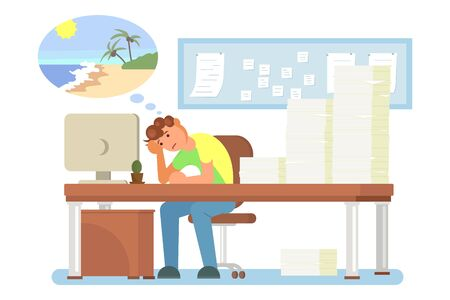 Overworked tired office man sitting at table in front of computer with head reclined upon his hand, vector flat illustration. Work burnout, mental fatigue, emotional exhaustion, work related stress.