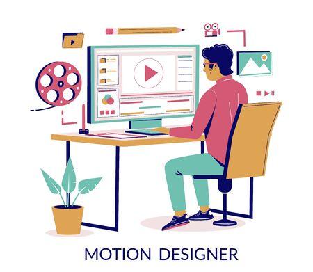 Motion designer vector concept for web banner, website page