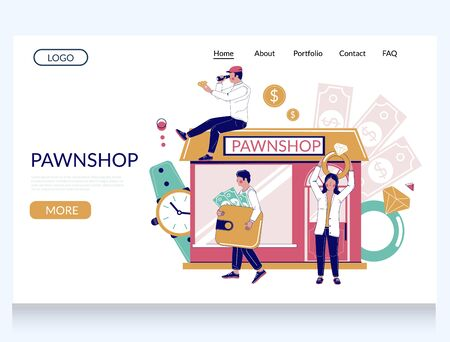 Pawn shop vector website landing page template 向量圖像