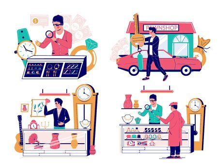 Pawn shop set, vector flat isolated illustration