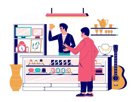 Pawnshop services, vector flat style design illustration