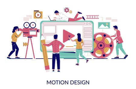 Motion graphic studio, vector flat style design illustration
