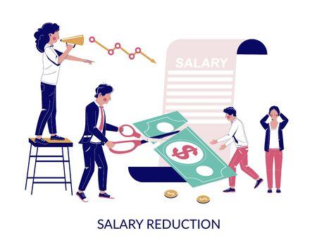 Salary reduction, vector flat style design illustration