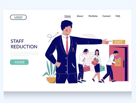 Staff reduction vector website landing page template