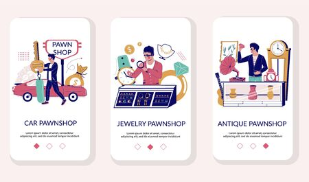 Pawnshop mobile app onboarding screens vector template