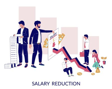 Salary reduction, vector concept for web banner, website page