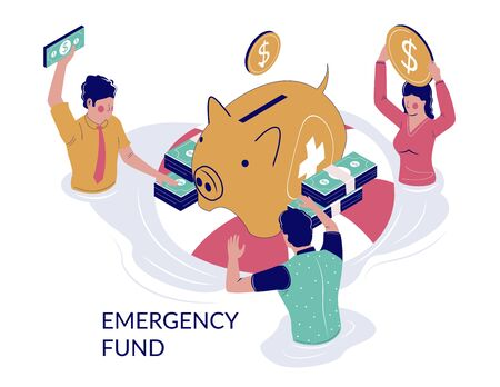 Emergency fund, vector flat illustration. People putting money into piggy bank. Saving money for future unexpected and unplanned expenses concept for web banner, website page etc. Vektorgrafik