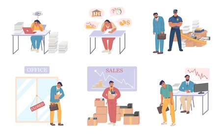 Business bankruptcy set, vector flat isolated illustration. Disappointed, scared, confused people because of being bankrupt, losing job. Business failure, financial crisis, economic crash.