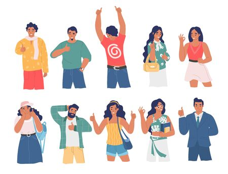 Happy people using ok and thumb up hand gestures while speaking, vector flat isolated illustration. Male and female characters expressing positive emotions and agreement. Consent and approval gestures Vector Illustration
