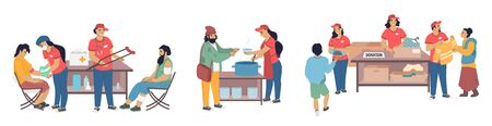 Volunteers donating clothes, providing medical assistance, preparing foods to homeless people, vector flat isolated illustration. Care for homeless, volunteering and charity.