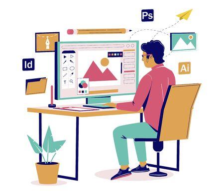 Graphic designer creating his artwork using computer software sitting at desk, vector flat isometric illustration. Digital artist, illustrator, graphic design professional at workplace.