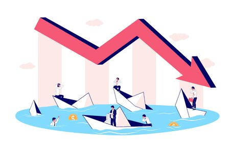 Business bankruptcy, financial crisis concept vector flat illustration. Down arrow chart and many unfortunate business people in sinking paper boats who are unable to repay their outstanding debts.