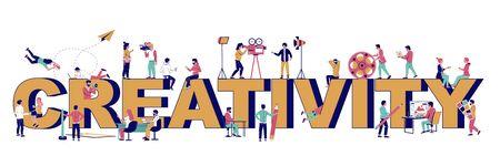 Creativity typography banner template, vector flat illustration