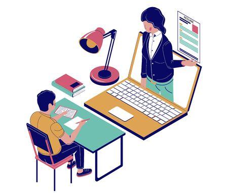 Entretien d'embauche en ligne, illustration vectorielle plat isométrique
