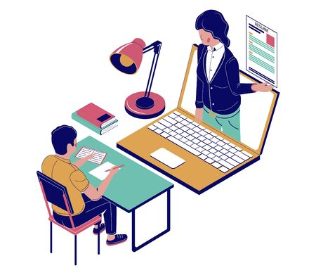 Online job interview, vector flat isometric illustration
