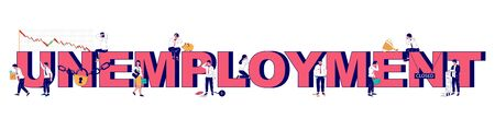 Unemployment typography banner template, vector flat illustration