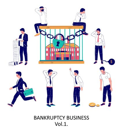 Business bankruptcy character set, vector flat isolated illustration