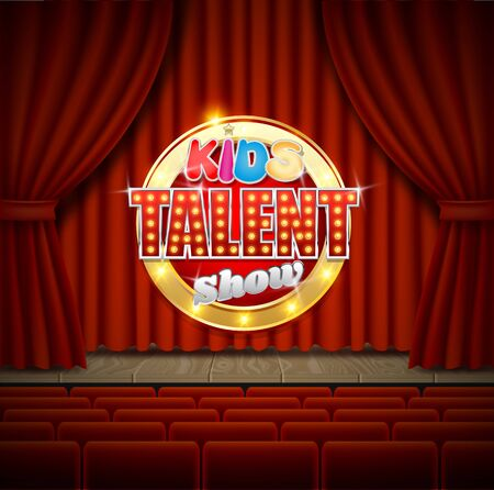Kids talent show vector poster banner template