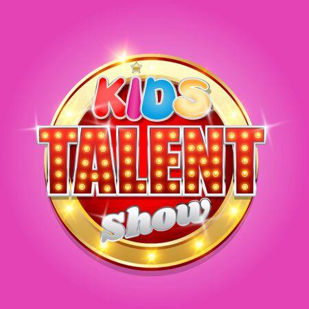 Kids talent tv show logo, vector illustration