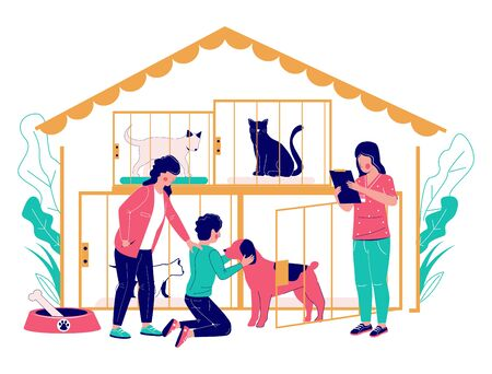 Pet shelter vector concept flat style design illustration Vectores