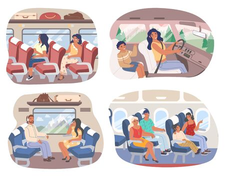 Traveling passengers inside of train, bus, plane and car, vector flat isolated illustration. Male and female characters traveling using various transport means. Road and flight trip. Illusztráció