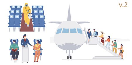 New flight travel rules on board, vector flat illustration. Cleaning and disinfection of aircraft cabin surfaces. Passengers, flight attendant wearing face masks during boarding procedure and travel.
