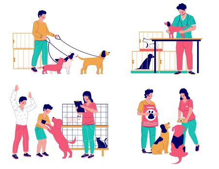 Pet care set, vector flat isolated illustration. Animal shelter, volunteering with cats and dogs, walking dogs, pet feeding, homeless and stray pets adoption, veterinary care.