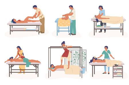 Massage therapy composition set, vector flat isolated illustration. People receiving and giving relaxing, healing body massage to women, baby. Treatment for reducing stress, pain and muscle tension.