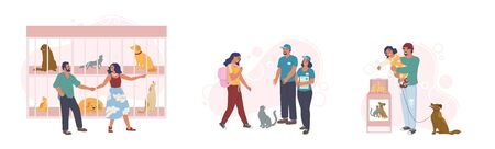 Animal shelter set, vector flat illustration. Happy couple visiting pet shelter with dogs and cats in cage. Girl adopting cute kitty, father with son donating money to save and support stray animals.
