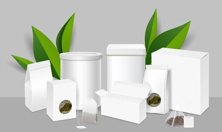 Tea package mockup set, vector illustration. Realistic blank open and closed, round and rectangular tea packaging boxes, pouches with transparent windows and teabags.