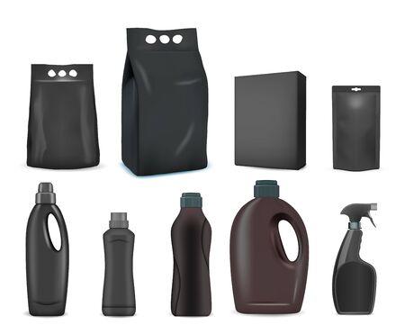 Black detergent pack mockup set, vector isolated illustration