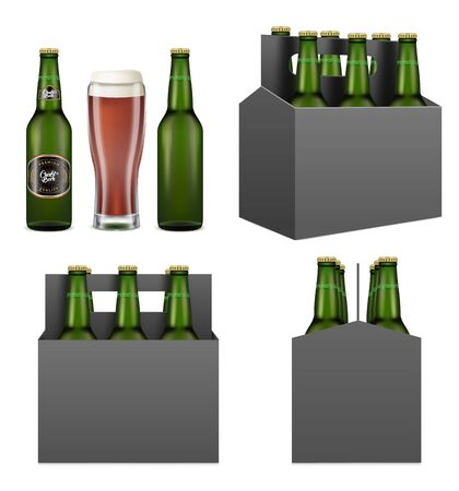 Dark beer pack mockup set, vector isolated illustration