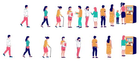 People waiting in line at the ATM machine, vector flat illustration