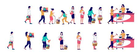 People waiting in line at store, vector flat illustration 向量圖像