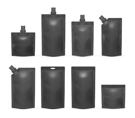 Black doypack mockup set, vector isolated illustration 向量圖像