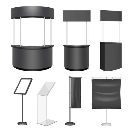 Black exhibition stand mockup set, vector isolated illustration 向量圖像