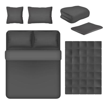 Black bed linen mockup set, vector isolated illustration