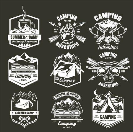 Summer camping label set, vector monochrome illustration