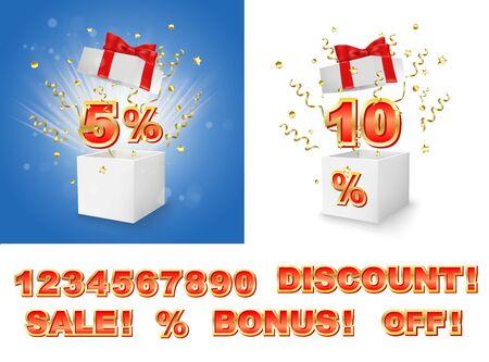 Discounts, sales gift box construction, vector illustration 向量圖像