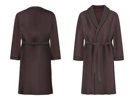Black bathrobe mockup set, vector isolated illustration