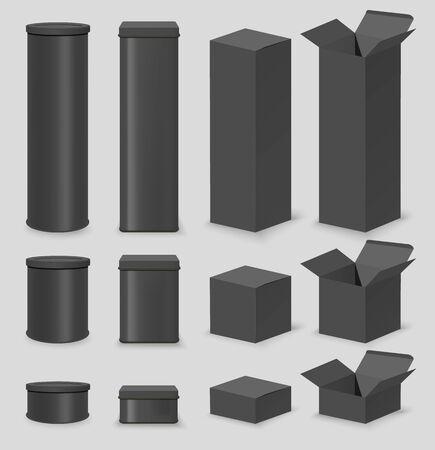 Black cardboard box mockup set, vector isolated illustration
