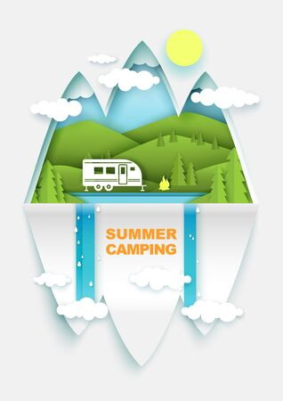 Summer camping concept vector poster banner template