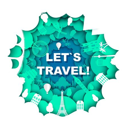 Lets travel poster template, vector illustration in paper art style