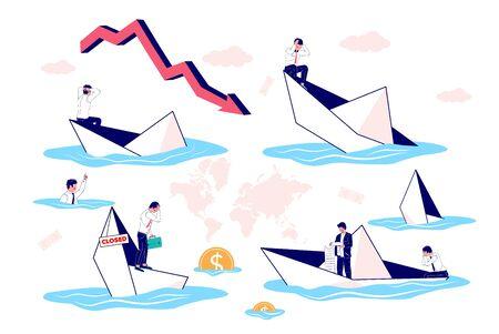 Businessman in sinking paper boat set, vector flat illustration